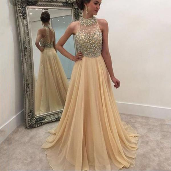 Ulass Sexy High Neck Formal Women Evening Gowns,Custom Made Beading Chiffon A-Line Long Prom Dresses