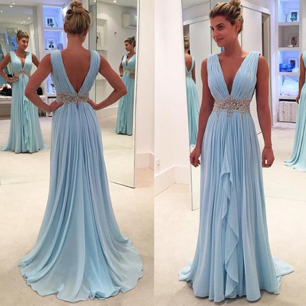 Ulass Sexy V-Neck Beading Pleat Chiffon Long Prom Dress, Custom Made Formal Evening Gowns,Fashion Women Dresses
