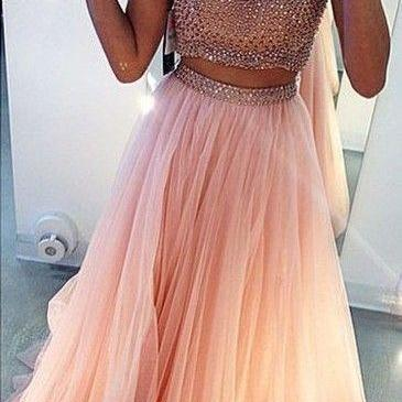 Ulass High Neck Two Pieces Pink Long Prom Dresses, Sexy Split Side Tulle Party Dresses Luxury Beaded Sequins Formal Evening Dresses