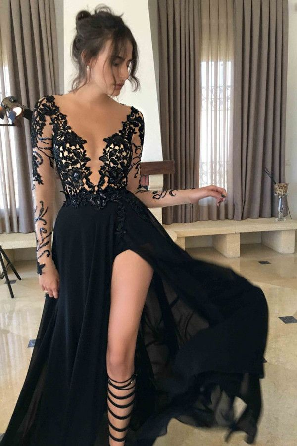 Ulass Long Prom Dress Black Prom Dress Long Sleeves Prom Dress