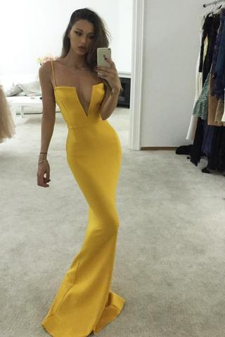 5908261436b Unique Yellow Spaghetti Straps Notched Mermaid Prom Dress