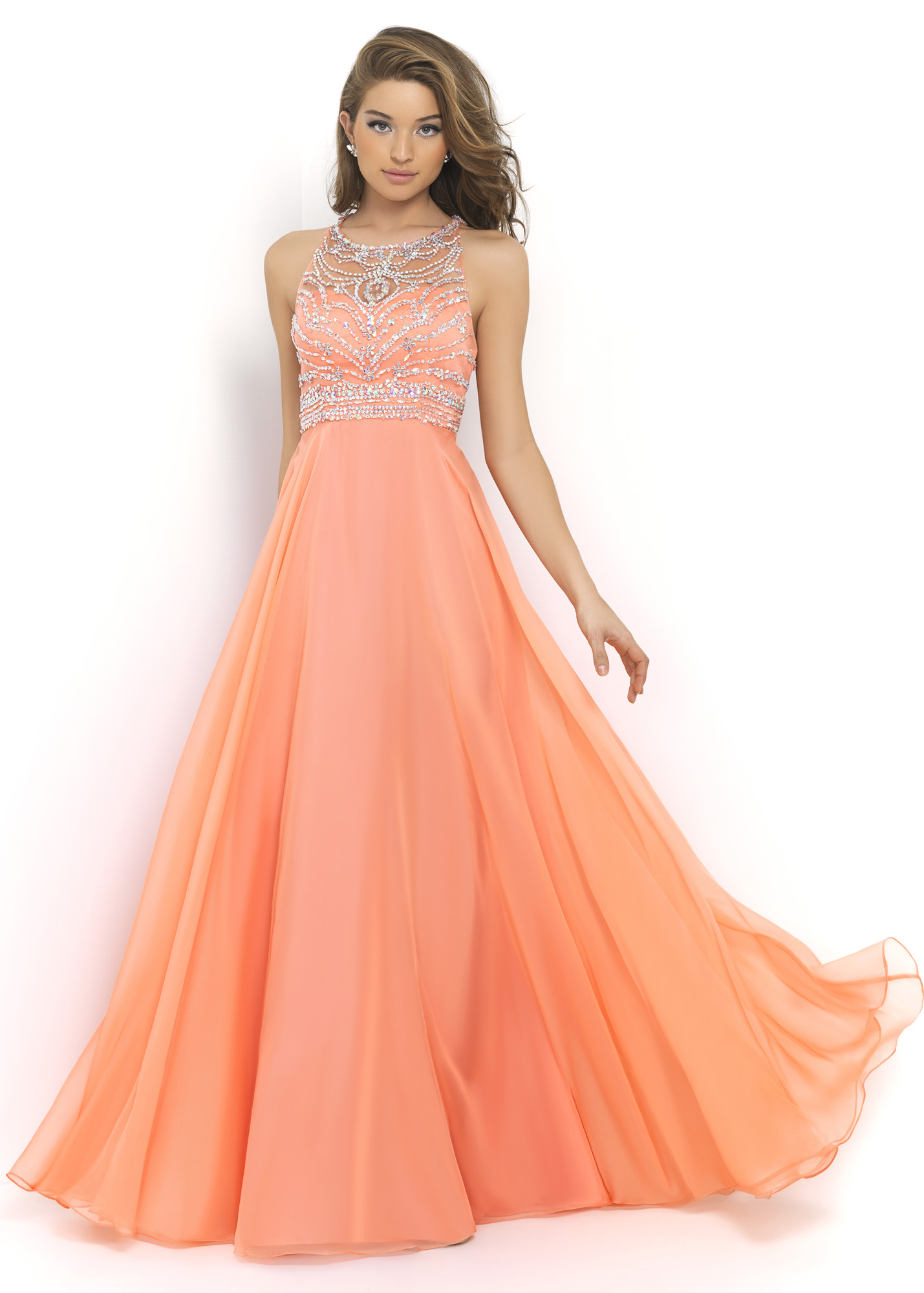 Ulass Chiffon Skirt Orange Ball Gown 2015 REINS Bandage Unbacked ...
