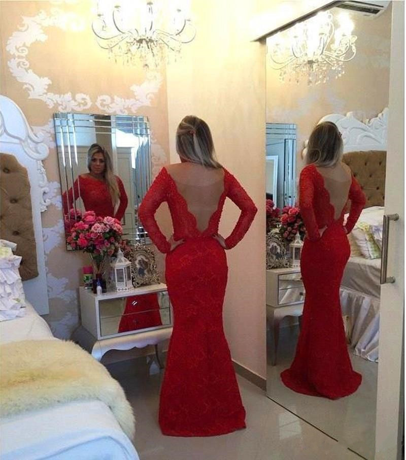 782da36b0141 Ulass 2016 Long Sleeves Lace Mermaid Prom Dresses Red Scoop Neck Pearls Bow  Sash Backless Long Evening Gowns